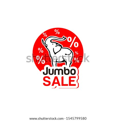 discount label modern red jumbo sale with elephant vector icon for logo graphic design template idea
