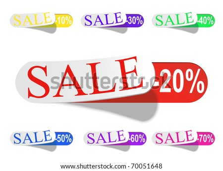 Discount labels. sale -20, -30, -40 etc vector. - stock vector