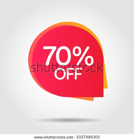 Discount offer price label, symbol for advertising campaign in retail, sale promo marketing, 70%