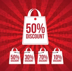 Discount over red and lines background vector illustration