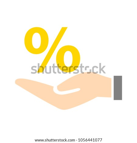 Discount percent with hand icon.