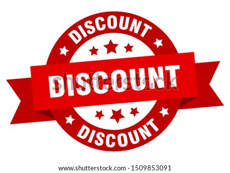 discount ribbon. discount round red sign. discount