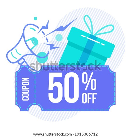 Discount, sale coupon 50. The concept of a coupon, a gift with a gramophone. Element for banner, flyer, and discount coupons