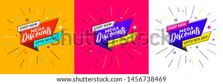 Discount - Sale template design in flat trendy memphis geometric retro style poster, placard, web, Concept, Template, Banner, Logo Design, Icon, Offer, Unit, Label, Web Header, Background, Mnemonic