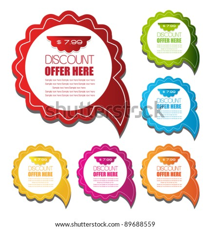 discount speech bubbles in different color schemes vector