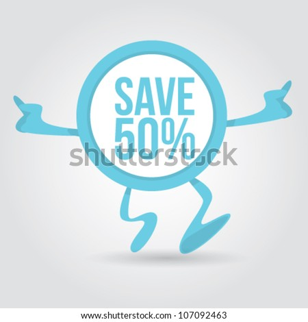 discount sticker character Vector Illustration