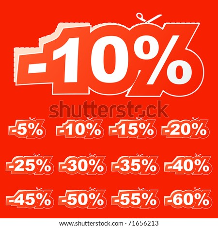 Discount sticker templates with different percentages - stock vector