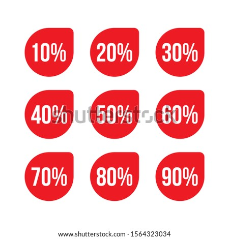 Discount tag symbol icon, discount product, discount item, discount from 10 to 90 percents