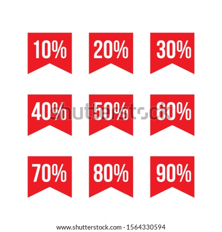 Discount tag symbol icon, discount product, discount item, discount from 10 to 90 percents red color