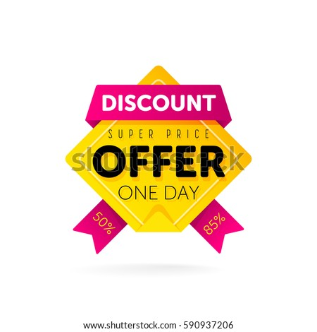Discount tag with special offer sale sticker. Promo tag discount offer layout. Sale label with advertise offer template. Sticker of discount price isolated modern graphic style vector illustration.