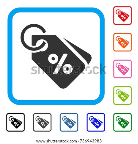 Discount Tags icon. Flat gray iconic symbol inside a light blue rounded frame. Black, gray, green, blue, red, orange color versions of Discount Tags vector.