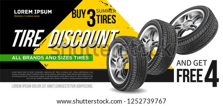 Discount. Tire advertisement poster. Black rubber tire. Realistic vector shining disk car wheel. Information. Store. Action.Landscape poster, digital banner, flyer, booklet, brochure and web design.