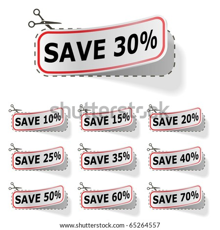 Discount vector labels isolated on white.