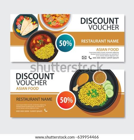 Discount voucher asian food template design. Indian set  Stock photo ©