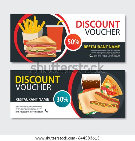 Discount voucher fast food template design. Set of pizza, sandwich, french fries, hot dog Stock photo ©