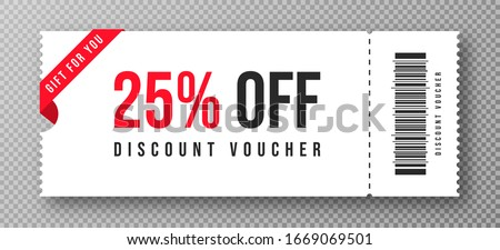 Discount voucher, gift coupon template with ruffle edges. White coupon mockup with 25 percent off. Vector