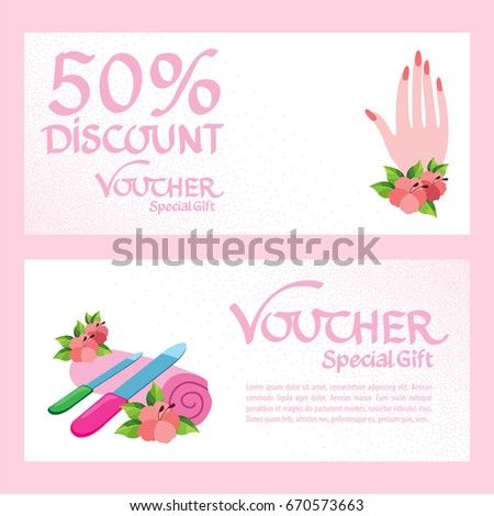 Discount voucher template. Certificate coupon for manicure procedures. Vector illustration. #670573663