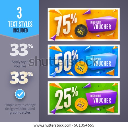 Discount voucher template with clean and modern pattern. Vector illustration
