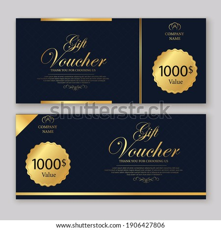 Discount voucher template with gold and black certificate. Background design coupon, invitation, currency. Set of stylish discount voucher gold and black. gift card, coupon.