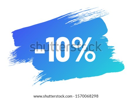 discount white lettering on blue color gradient brush stroke. discount minus 10 percent off. illustration for promo advertising discounts