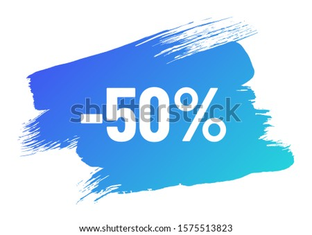 discount white lettering on blue color gradient brush stroke. discount minus 50 percent off. illustration for promo advertising discounts