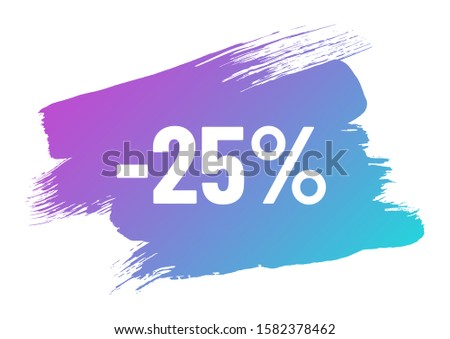 discount white lettering on blue pink color gradient brush stroke. discount minus 25 percent off. illustration for promo advertising discounts