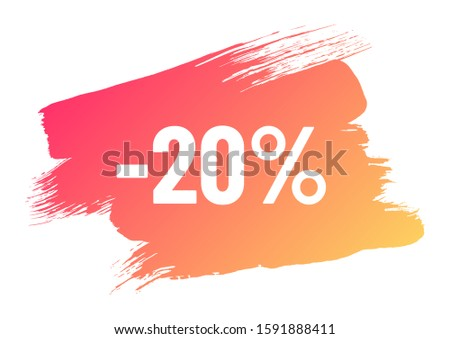 discount white lettering on orange color gradient brush stroke. discount minus 20 percent off. illustration for promo advertising discounts