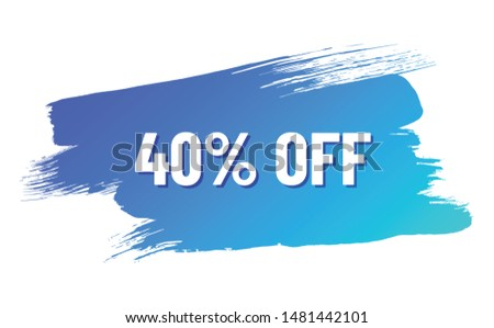 discount white lettering with shadow on blue color gradient brush stroke. discount 40 percent off. illustration for promo advertising discounts