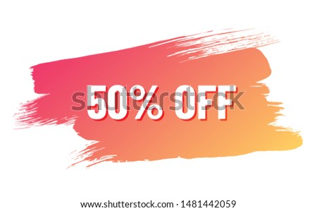 discount white lettering with shadow on orange color gradient brush stroke. discount 50 percent off. illustration for promo advertising discounts