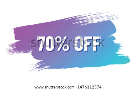 discount white lettering with shadow on trendy color gradient brush stroke. discount 70 percent off. illustration for promo advertising discounts