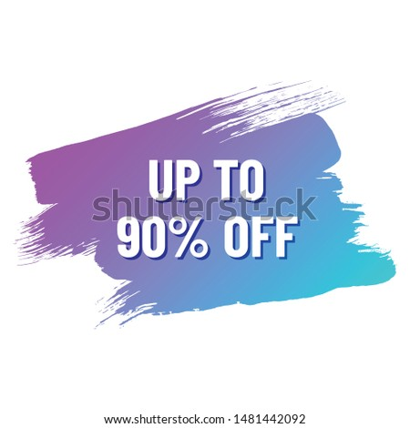 discount white lettering with shadow on trendy color gradient brush stroke. discount up to 90 percent off. illustration for promo advertising discounts
