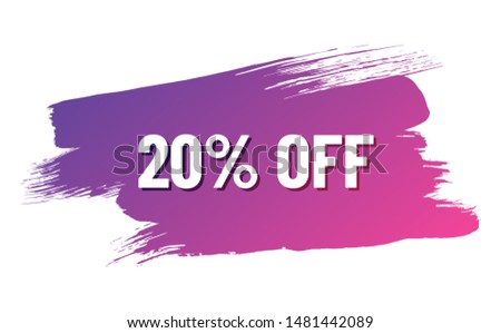 discount white lettering with shadow on violet color gradient brush stroke. discount 20 percent off. illustration for promo advertising discounts