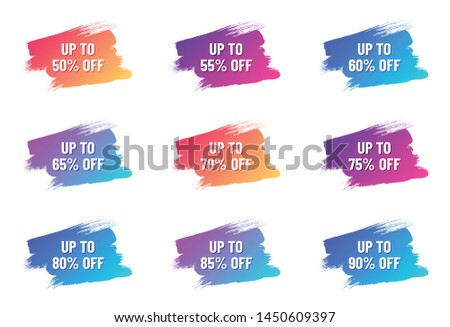 discount white letterings on color gradient brush strokes. discount from 50 to 90 percent off. illustration for promo advertising discounts