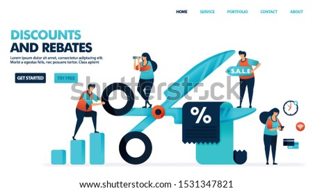 Discounts and rebates in shopping. Butts cut discount voucher. Bonus deduction for e-commerce purchase and service. Discount for payments and bills. Human illustration for website, mobile apps, poster Stock photo ©