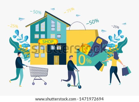 Discounts on services, installments. Attracting customers, buyers. The store sells goods in installments to people, numbers, signs. Interest free sale. Colorful vector illustration.