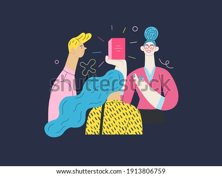 Discounts, sale, promotion - shop consultant - modern flat vector concept illustration of customers and a salesperson telling about and offering the product Foto stock ©