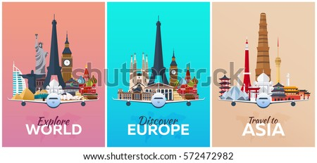Discover Europe, Explore Europe, travel to Asia. Vacation. Trip to country. Travelling illustration. Modern vector flat