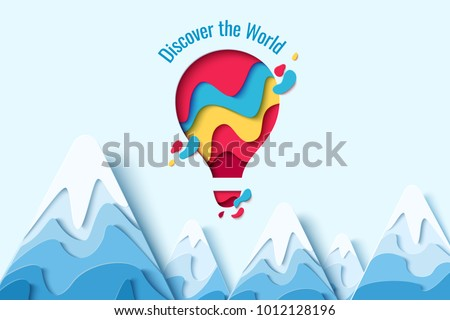 Discover the World paper art concept of hot air balloon in sky with clouds over mountains. Vector travel origami paper cut banner