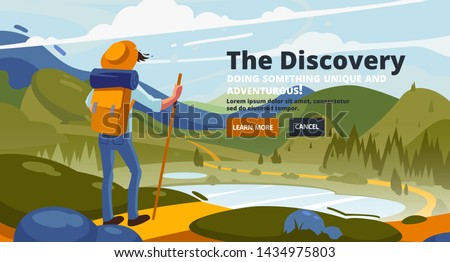 Discovery banner. Adventure of a young man in the mountains, travel on hiking trails. Adventure travel. Summer vacation. Around the world. Concept of discovery, exploration, hiking, adventure tourism.