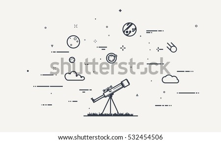 Discovery concept. Flat style, thick and thin line design of telescope looking to the stars and planets. Science discover.