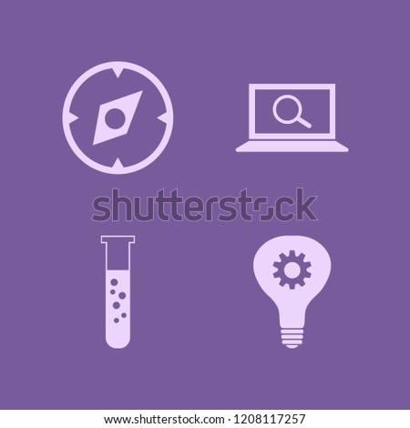 discovery icon. discovery vector icons set find concept, idea, compass and test tube