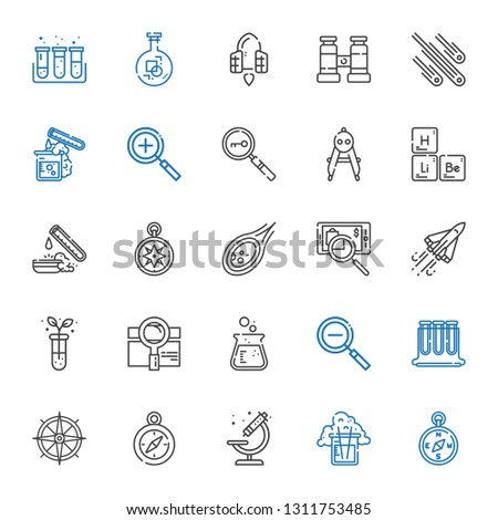 discovery icons set. Collection of discovery with compass, flask, microscope, test tubes, zoom out, search, test tube, space shuttle, searching. Editable and scalable discovery icons.