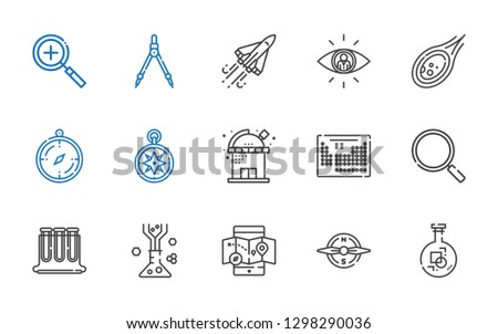 discovery icons set. Collection of discovery with flask, compass, mobile map, test tubes, loupe, periodic table, observatory, wind rose. Editable and scalable discovery icons.