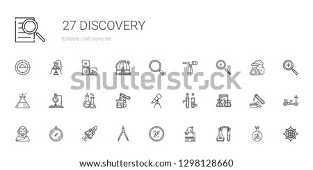discovery icons set. Collection of discovery with flask, microscope, compass, space shuttle, Aristotle, test tube, telescope, zoom in, loupe. Editable and scalable discovery icons.