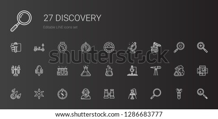 discovery icons set. Collection of discovery with loupe, flask, binocular, aristotle, compass, science, meteorite, telescope, test tube. Editable and scalable discovery icons.