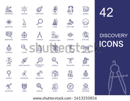 discovery icons set. Collection of discovery with meteorite, science, flask, beaker, searching, loupe, test tube, pluto, compass, periodic table. Editable and scalable discovery icons.