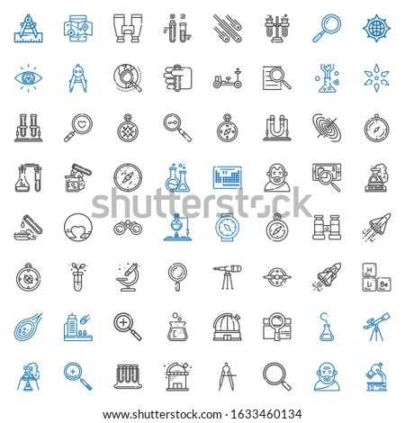 discovery icons set. Collection of discovery with microscope, socrates, loupe, compass, observatory, test tubes, zoom in, flask, telescope. Editable and scalable discovery icons.