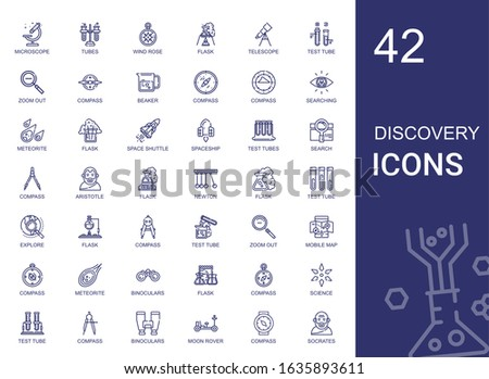 discovery icons set. Collection of discovery with microscope, tubes, wind rose, flask, telescope, test tube, zoom out, compass, beaker. Editable and scalable discovery icons.