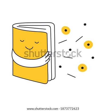 Discovery, opening a cute smiley fascinating book character with a fantastic world inside, exploration and creativity, inspiration, and imagination concept. Outline isolated vector on white.