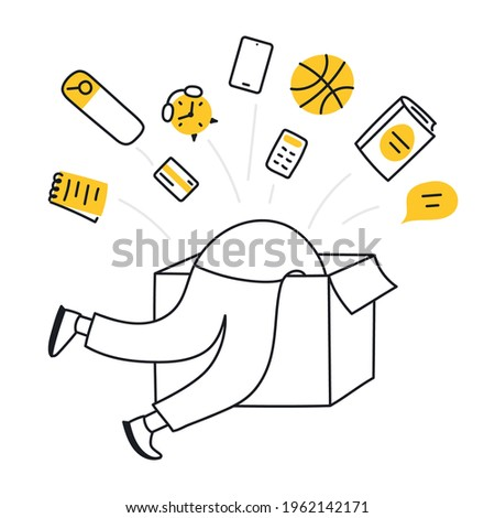Discovery, research, finding, and creative process. Cute cartoon person diving in the box trying to find some answers inside, search among different stuff. Thin line vector illustration on white.